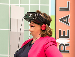 Cabinet Secretary for Culture, Tourism and External Affairs, Fiona Hyslop visits one of the highlights of the annual Edinburgh International Science Festival, Play On at the National Museum of Scotland. Play On is a family-friendly, interactive exhibition which is divided into four zones (Game Theory, Make Some Noise, Toy Box and Picture This) and explores how technology influences our leisure time.<br />  <br /> Ms Hyslop met with the Science Festival&rsquo;s Directors, Simon Gage and Amanda Tyndall, as well as the artists and designers behind the Play On.<br /> <br /> <br /> Pictured: Fiona Hyslop using a Virtual Reality headset