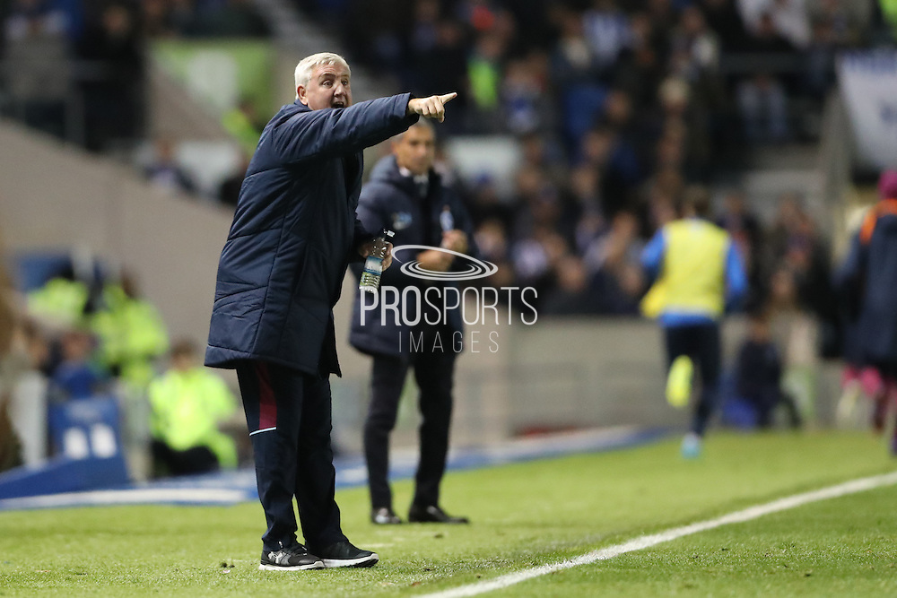 Aston Villa manager Steve Bruce pointing, directing, signalling during the EFL Sky Bet Championship match between Brighton and Hove Albion and Aston Villa at the American Express Community Stadium, Brighton and Hove, England on 18 November 2016.