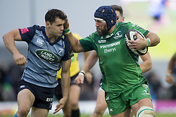 September 23, 2017 - Galway, Ireland - John Muldoon of Connacht runs with the ball and Tomos Williams of Cardiff during the Guinness PRO14 Conference A match between Connacht Rugby and Cardiff Blues at the Sportsground in Galway, Ireland on September 23, 2017  (Credit Image: © Andrew Surma/NurPhoto via ZUMA Press)