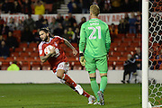 Nottingham Forest midfielder Henri Lansbury (10) scores from the penalty spot 1-2 during the EFL Sky Bet Championship match between Nottingham Forest and Cardiff City at the City Ground, Nottingham, England on 22 October 2016. Photo by Jon Hobley.