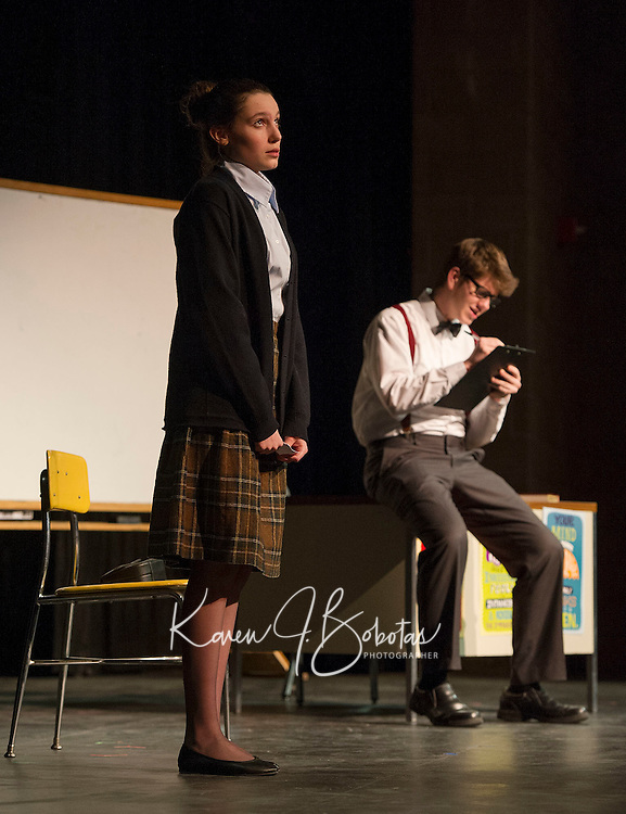 """Kaylee Lemire and Christian Ayer during dress rehearsal for """"The Universal Language"""" one of six short comedies in """"All In The Timing"""" at Gilford High School on Tuesday afternoon.  (Karen Bobotas/for the Laconia Daily Sun)"""