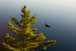 A kayaker on  Sand Pond in Lempster, New Hampshire.