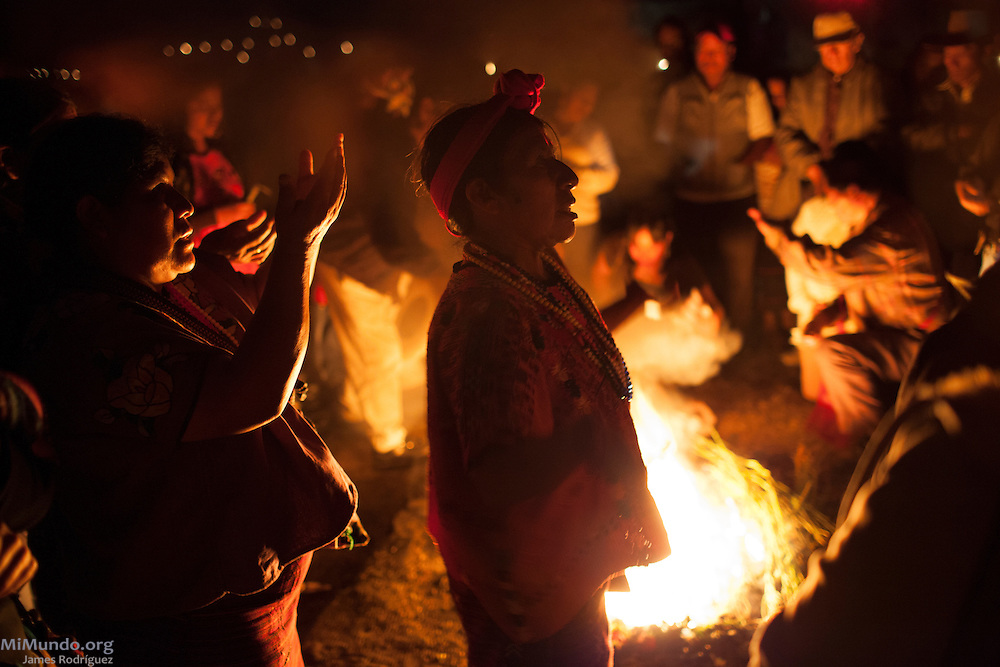 María Pérez Domingo, Ajq'ij, or Mayan Spiritual Guide from San Idelfonso Ixtahuacán affiliated to Oxlajuj Ajpop, leads celebrations in the ancient Mayan site of Zaculeu marking the end of the Mayan Era known as 13 Baktun. Zaculeu, Huehuetenango, Guatemala. December 20, 2012.