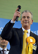 © Licensed to London News Pictures. 01/03/2013. Eastleigh, UK Liberal Democrat, Mike Thornton MP (L) wins the Eastleigh by-election. The voters of Eastleigh vote to choose a new MP in a by-election prompted by the resignation of former Lib Dem cabinet minister Chris Huhne. Polling will continued 22:00 GMT 28/02/13, with votes counted overnight on Thursday. There are 14 candidates in total on the ballot papers.. Photo credit : Stephen Simpson/LNP