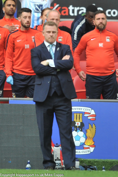 MARK ROBINS MANAGER AND BENCH  NICKY EADEN COVENTRY CITY, Coventry City v Oxford United, EFL Checkatrade Trophy Final, Wembley Stadium Sunday 2nd April 2017, <br /> Score Coventry 2-1 Oxford<br /> PhotoMike Capps