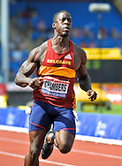 Picture by Alan Stanford/Focus Images Ltd +44 7915 056117<br /> 12/07/2013<br /> Dwain Chambers (GBR)  pictured winning the 100m final during day two of Sainsbury's British Championship at Alexander Stadium, Birmingham.