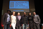 May 7, 2012- New York, NY United States: - (L-R)Actor Wood Harris, Actress Nicole Ari Parker, Dr. Michael Eric Dyson, Actor Blair Underwood, Producer Alia M. Jones and Producer Stephen Byrd attend the Theater Talks at the Schomburg: A Streetcar Named Desire held at the Schomburg Center for Research in Black Culture, part of the New York Public Library on May 7, 2012 in Harlem Village, New York City. The Schomburg Center for Research in Black Culture, a research unit of The New York Public Library, is generally recognized as one of the leading institutions of its kind in the world. For over 80 years the Center has collected, preserved, and provided access to materials documenting black life, and promoted the study and interpretation of the history and culture of peoples of African descent.  (Photo by Terrence Jennings) .