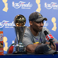 14 June 2009: Kobe Bryant of the Los Angeles Lakers is seen next to the MVP trophy and a box of Wheaties during the press conference after game 5 of the 2009 NBA Finals won 99-86 by the Los Angeles Lakers over the Orlando Magic at Amway Arena, in Orlando, Florida, USA. Kobe Bryant scores 30 points and leads the Lakers to15th Championship.