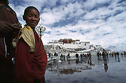 Tibet, Lhasa Potola palace and monk.