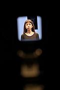 Kassel, Germany. Opening days of documenta14.<br /> Stadtmuseum Kassel.<br /> Regina José Galindo: El Objectivo (The Objective), performance