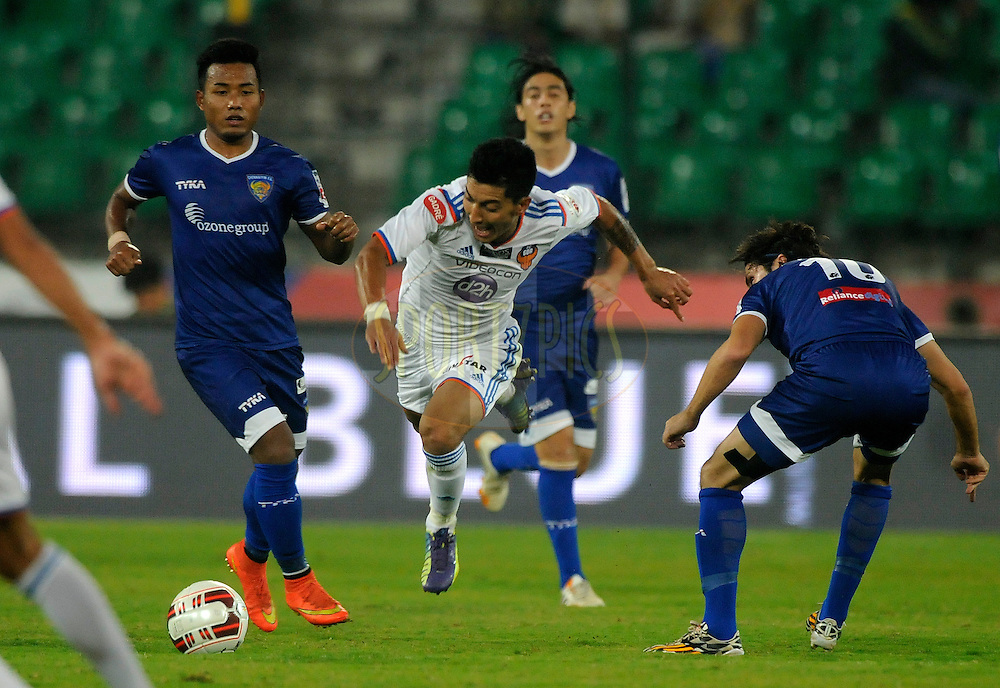 Haroon Fakhruddin of FC Goa during match 50 of the Hero Indian Super League between Chennaiyin FC and FC Goa held at the Jawaharlal Nehru Stadium, Chennai, India on the 5th December 2014.<br /> <br /> Photo by:  Pal Pillai/ ISL/ SPORTZPICS