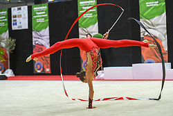 July 28, 2018 - Chieti, Abruzzo, Italy - Rhythmic gymnast Vlada Nikolchenko of Ukraine performs her ribbon routine during the Rhythmic Gymnastics pre World Championship Italy-Ukraine-Germany at Palatricalle on 29th of July 2018 in Chieti Italy. (Credit Image: © Franco Romano/NurPhoto via ZUMA Press)