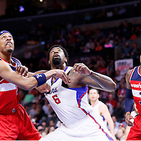 20 March 2015: Washington Wizards forward Paul Pierce (34) vie for the rebound with Los Angeles Clippers center DeAndre Jordan (6) next to Washington Wizards guard Bradley Beal (3) during the Los Angeles Clippers 113-99 victory over the Washington Wizards, at the Staples Center, Los Angeles, California, USA.
