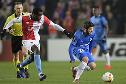 February 14, 2019 - Prague, CZECH REPUBLIC - Slavia's Michael Ngadeu-Ngadjui and Genk's Alejandro Pozuelo fight for the ball during a soccer game between Czech club SK Slavia Praha and Belgian team KRC Genk, the first leg of the 1/16 finals (round of 32) in the Europa League competition, Thursday 14 February 2019 in Prague, Czech Republic. BELGA PHOTO YORICK JANSENS (Credit Image: © Yorick Jansens/Belga via ZUMA Press)
