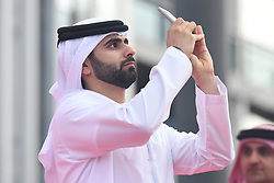 March 2, 2019 - Dubai, United Arab Emirates - Sheikh Mansour Bin Mohammed Bin Rashid Al Maktoum takes a photo during the Awards Ceremony, after he wins the inagural edition of the UAE Tour. .On Saturday, March 2, 2019, in Dubai City Walk, Dubai Emirate, United Arab Emirates. (Credit Image: © Artur Widak/NurPhoto via ZUMA Press)