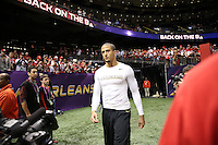 Colin Kaepernick (7) of the San Francisco 49ers warms up against the Baltimore Ravens during the NFL Super Bowl XLVII football game in New Orleans on Feb. 3, 2013. The Ravens won the game, 34-31.    (Photo by Jed Jacobsohn)  (Photo by Jed Jacobsohn) (Photo by Jed Jacobsohn)