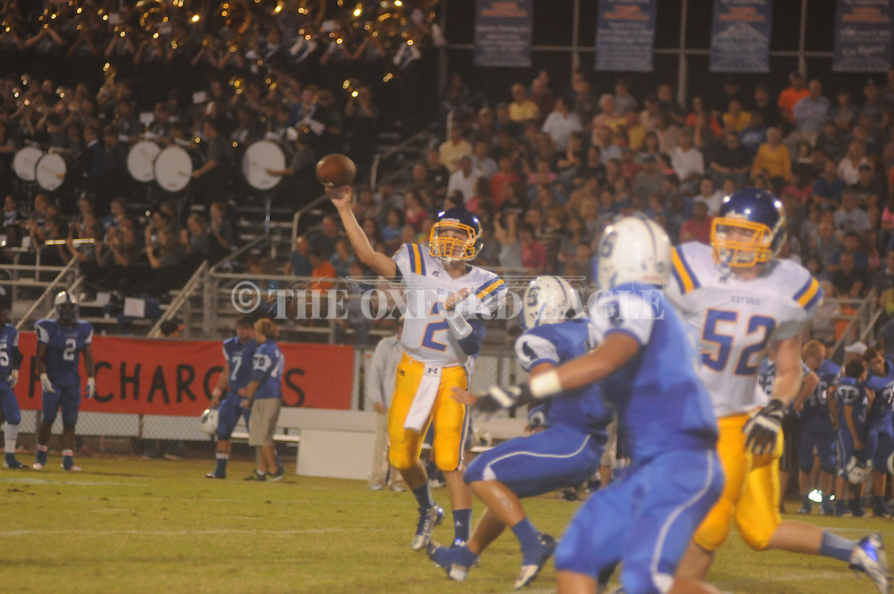 Oxford High's Jack Abraham (2) passes vs. Saltillo in Saltillo, Miss. on Friday, October 4, 2013. Oxford won.