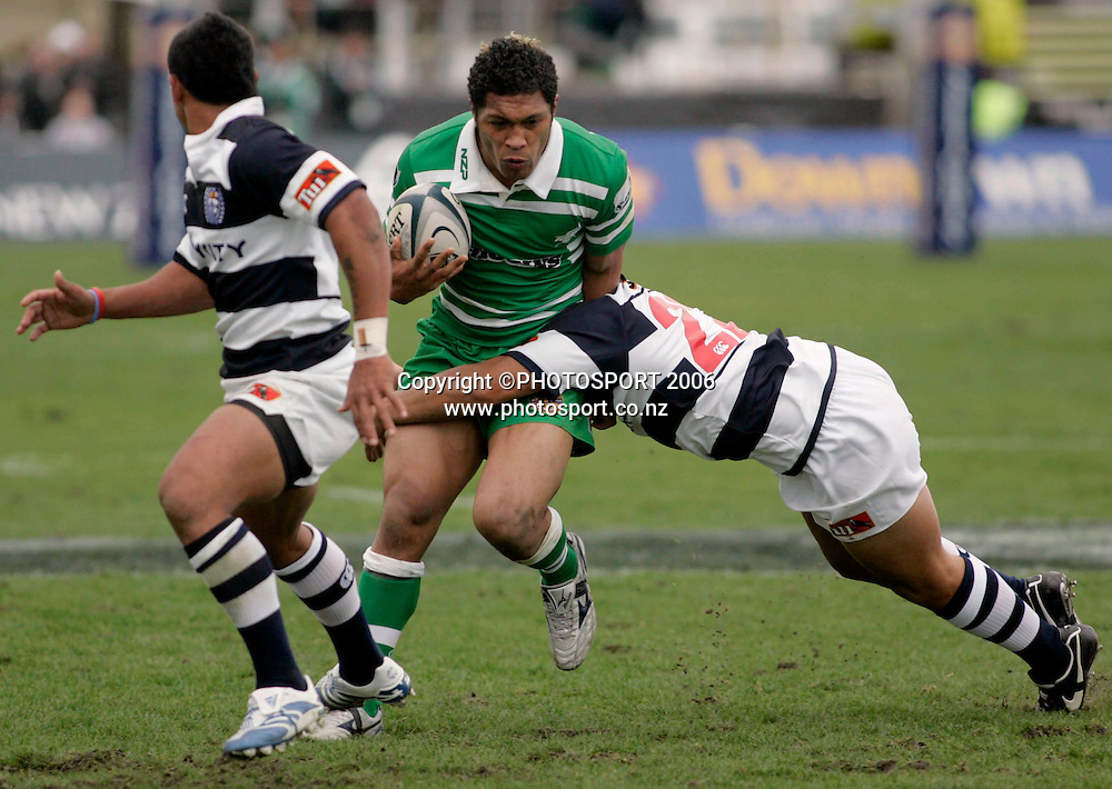 Manawatu centre Johnny Leota is tackled during the Air NZ Cup week 1 rugby match between Manawatu and Auckland at FMG Stadium, Palmerston North on Saturday 29 July, 2006. Photo: Peter Bush/PHOTOSPORT<br /> <br /> 290706 union