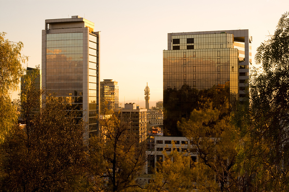 Downtown view from Santa Lucia Hill with the Entel Communication Tower in the center, Santiago, Chile, South America