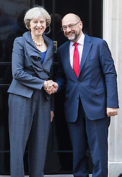 Downing Street, London, September 22nd 2016. British Prime Minister Theresa May welcomes President of the European Parliament Martin Schulz to her official residence at 10 Downing Street.