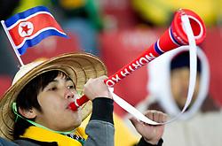 15.06.2010, Ellis Park, Johannesburg, RSA, FIFA WM 2010, Brasilien vs Nordkorea im Bild Fanfeature ein Nordkoreanischer Fan mit Vuvzela, EXPA Pictures © 2010, PhotoCredit: EXPA/ Sportida/ Vid Ponikvar