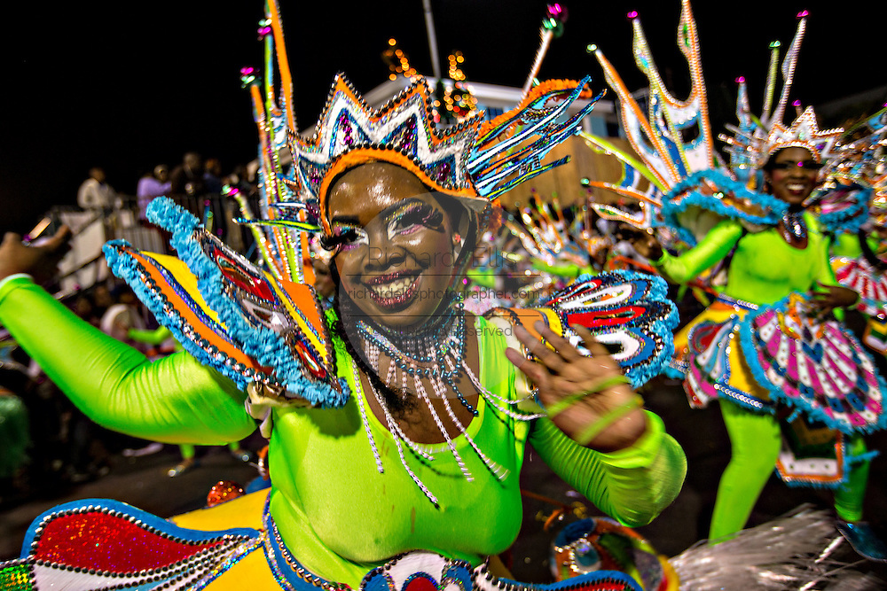 Costumed dancers celebrate the New Year with the Junkanoo Parade on January 1, 2013 in Nassau, Bahamas. The carnival like festival is celebrated in the early hours of the New Year lasting until the late morning and dates back to slavery days.