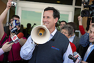 30 JAN. 2012 -- COTTLEVILLE, Mo. -- Former US Sen. Rick Santorum (R-Penn.) uses a bullhorn to greet supporters who arrived after the auditorium was full for an address Santorum delivered on economic issues at St. Charles Community College in Cottleville, Mo. Monday, Jan. 30, 2012. The group was able to meet with Santorum briefly following the address. The Missouri Republican primary will be held Feb. 7, 2012. Photo © copyright 2012 Sid Hastings.