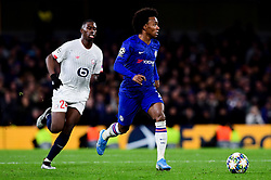 Willian of Chelsea is chased by Boubakary Soumare of Lille - Mandatory by-line: Ryan Hiscott/JMP - 10/12/2019 - FOOTBALL - Stamford Bridge - London, England - Chelsea v Lille - UEFA Champions League group stage