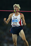Matt Hemmingway of the United States celebrates a clearance in the high jump in a season-best 7-8 (2.34m) in the 2004 Olympics in Athens, Greece on Sunday, August 22, 2004. Hemmingway finished second in the high jump in a season-best 7-8 (2.34m).