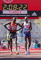 Geoffrey Mutai of Kenya and Mo Farah of Great Britain having finished 6th and 8th in the Elite Men's race at the end of the Virgin Money London Marathon 2014 on Sunday 13 April 2014<br /> Photo: Roger Allan/Virgin Money London Marathon<br /> media@london-marathon.co.uk