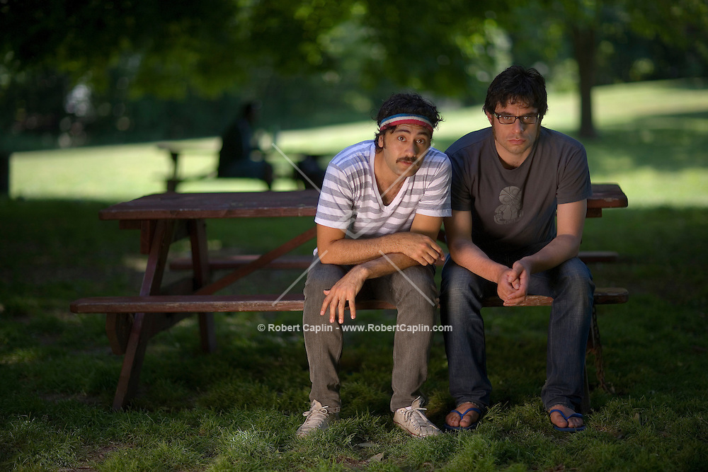 New Zealand director Taika Waititi, right, and Jemaine Clements  pose for a portrait in Prospect Park in Brooklyn, New York. May 29, 2007.