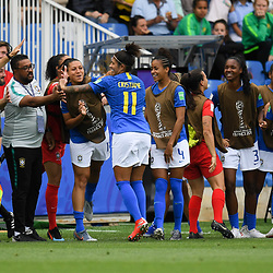 Cristiane of Brazil celebrates his scoring with team-mates during the Women's World Cup match between Australia and Brazil at Stade de la Mosson on June 13, 2019 in Montpellier, France. (Photo by Alexandre Dimou/Icon Sport)