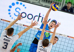 Uros Pavlovic of Slovenia during volleyball match between National teams of Slovenia and Latvia in Qualifications for 2015 CEV Volleyball European Championship - Men on May 25, 2014 in Arena Stozice, Ljubljana, Slovenia. Photo by Vid Ponikvar / Sportida
