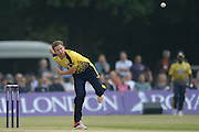 Hampshire all-rounder Liam Dawson during the NatWest T20 Blast South Group match between Middlesex County Cricket Club and Hampshire County Cricket Club at Uxbridge Cricket Ground, Uxbridge, United Kingdom on 27 May 2016. Photo by David Vokes.
