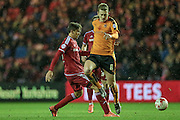 George Saville (Wolverhampton Wanderers) loses the ball in midfield during the Sky Bet Championship match between Middlesbrough and Wolverhampton Wanderers at the Riverside Stadium, Middlesbrough, England on 4 March 2016. Photo by Mark P Doherty.