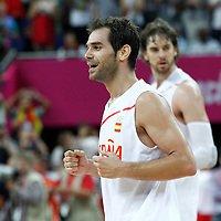 10 August 2012: Spain Jose Calderon celebrates the win following the 67-59 Team Spain victory over Team Russia, during the men's basketball semi-finals, at the North Greenwich Arena, in London, Great Britain.