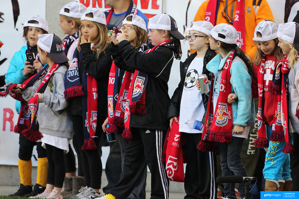 Young New York Red Bulls fans on the touchline before the New York Red Bulls V New England Revolution, Major League Soccer regular season match at Red Bull Arena, Harrison, New Jersey. USA. 20th April 2013. Photo Tim Clayton