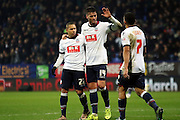 Gary Madine celebrates during the The FA Cup Third Round Replay match between Bolton Wanderers and Eastleigh at the Macron Stadium, Bolton, England on 19 January 2016. Photo by Pete Burns.