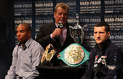 Dec 13; New York, NY, USA; Dan Goossen speaks at the final press conference for the fight between Andre Ward (left) and Carl Froch (right).  The two will meet at Boardwalk Hall in Atlantic City, NJ on Saturday, December 17, 2011.