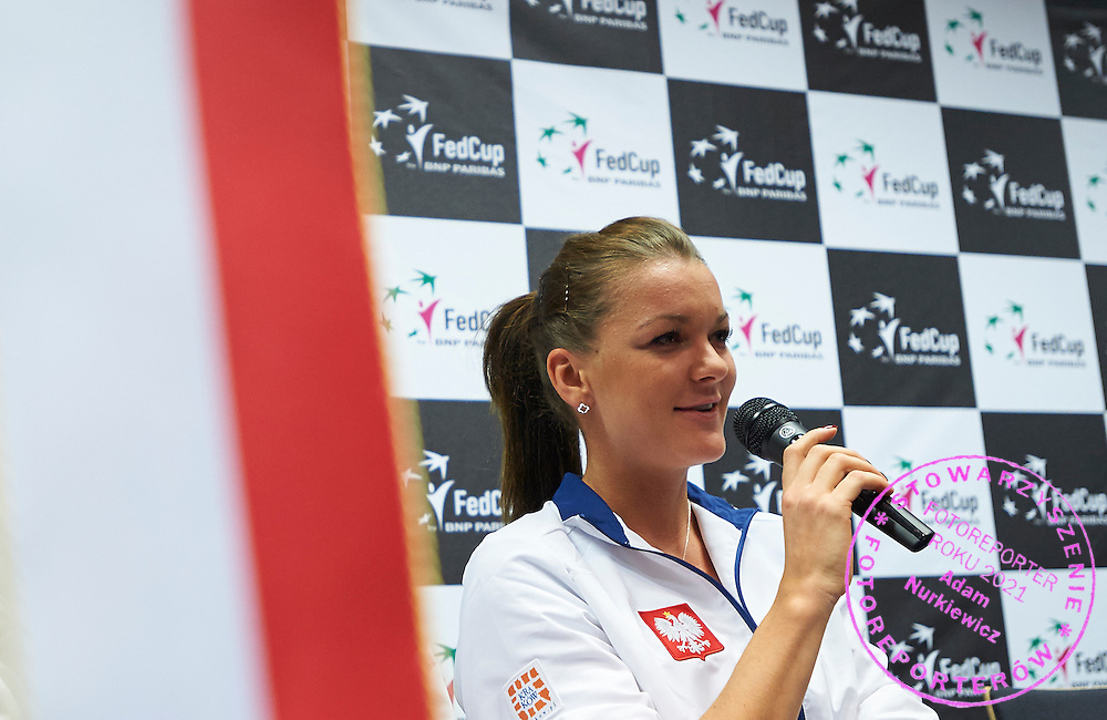 Agnieszka Radwanska from Poland speaks during official press conference three days before the Fed Cup / World Group 1st round tennis match between Poland and Russia at Krakow Arena on February 4, 2015 in Cracow, Poland<br /> Poland, Cracow, February 4, 2015<br /> <br /> Picture also available in RAW (NEF) or TIFF format on special request.<br /> <br /> For editorial use only. Any commercial or promotional use requires permission.<br /> <br /> Mandatory credit:<br /> Photo by &copy; Adam Nurkiewicz / Mediasport