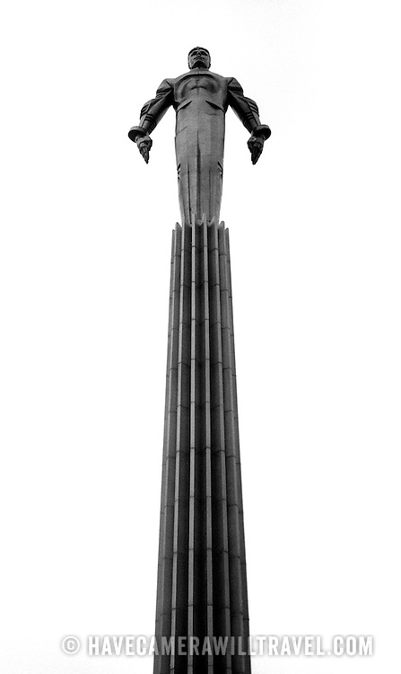 A monument to Cold War-era Soviet cosmonaut Yuri Gargarin, the first man in space. Made of titanium, the monument was errected in Moscow in 1980. Black and white.