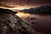Rock formations in lake Kleifarvatn, Reykjanes peninsula, south-west Iceland