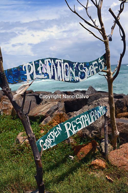 Restaurant sign in Midigama, Sri Lanka
