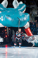KELOWNA, CANADA - SEPTEMBER 24: Connor Bruggen-Cate #20 of the Kelowna Rockets enters the ice against the Kamloops Blazers on September 24, 2016 at Prospera Place in Kelowna, British Columbia, Canada.  (Photo by Marissa Baecker/Shoot the Breeze)  *** Local Caption *** Connor Bruggen-Cate;