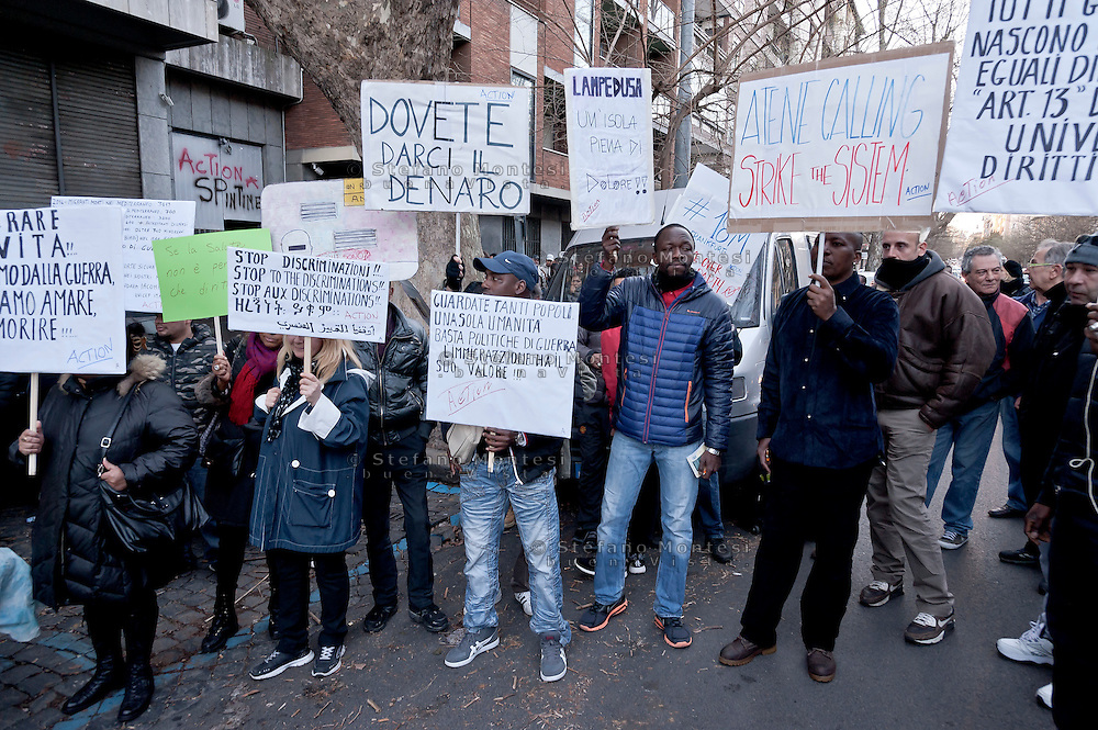 The International Day of Solidarity with Refugees and Migrants rally was held at Vittorio square, in Rome, Italy  1th March 2016.