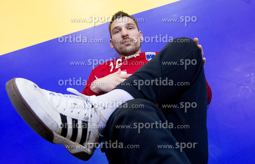 Primoz Prost of Slovenia during practice session of Slovenia National Handball team during Main Round of 10th EHF European Handball Championship Serbia 2012, on January 21, 2012 in Spens Sports Center, Novi Sad, Serbia. (Photo By Vid Ponikvar / Sportida.com)