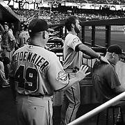 Bryce Harper, Washington Nationals, in the dugout giving a massage to Matt Williams, Washington Nationals Manager before the New York Mets Vs Washington Nationals MLB regular season baseball game at Citi Field, Queens, New York. USA. 31st July 2015. Photo Tim Clayton