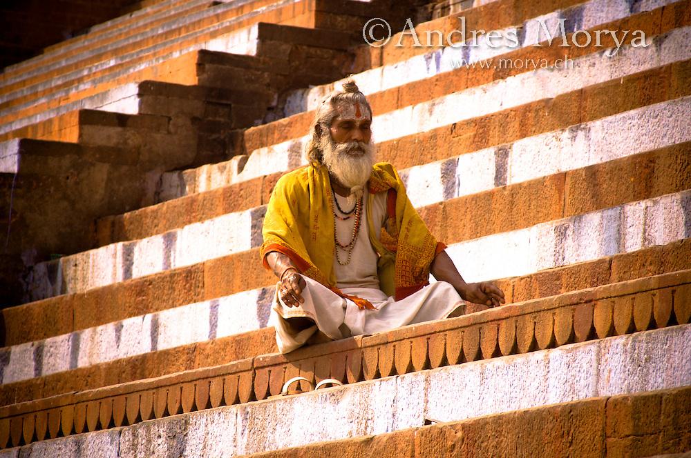 Portrait of an Indian Sadhu Holy man , Varanasi , India Image by Andres Morya
