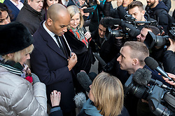 "© Licensed to London News Pictures. 21/01/2019. London, UK. The media speak with a group of MPs including Heidi Alexander, Chuka Umuna, Chris Leslie, Sarah Wollaston, Gavin Shuker, Anna Soubry and Luciana Berger after a meeting in the Cabinet Office. Prime Minister Theresa May will update MPs on her Brexit ""Plan B"" this afternoon. Photo credit: Rob Pinney/LNP"