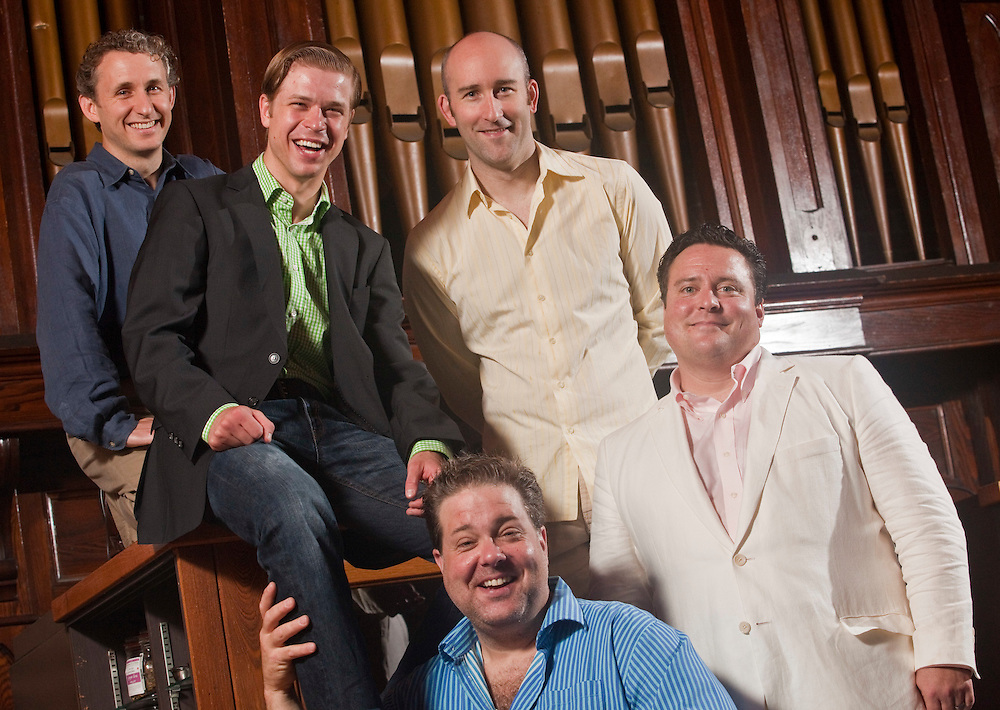 Stratford, Ontario ---10-07-14--- From left, Michael Therriault, Kyle Golemba, Bruce Dow, Jonathan Monro, and Sean Cullen will perform in the Stratford Summer Music Cabaret Series at The Church Restaurant in Stratford, Ontario this summer.<br /> GEOFF ROBINS Toronto Star